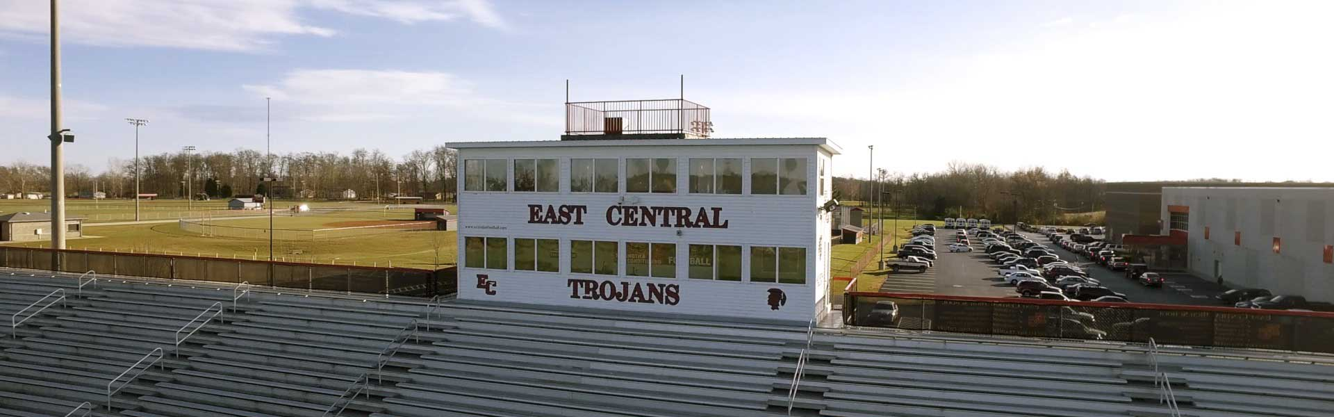 Front View of East Central High School Press Box